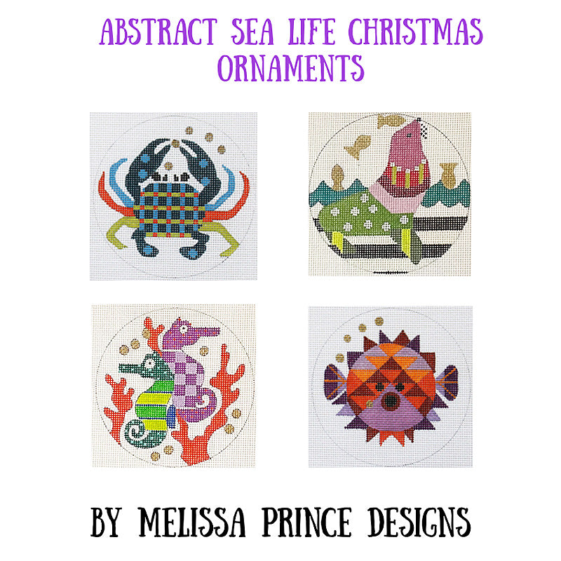 Abstract Sea Life: Set of 4 ornaments By Melissa Prince