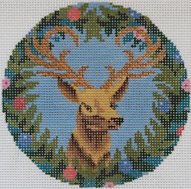 Royal Stag on blue Needlepoint Ornament