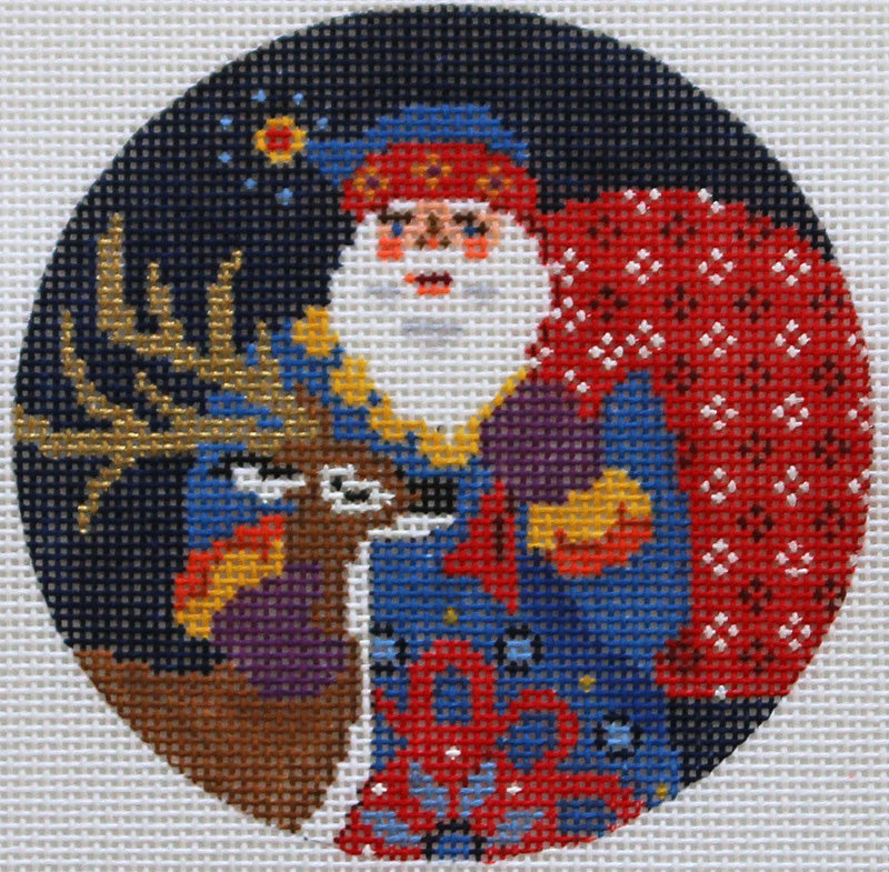 Old World Santa with Reindeer Needlepoint Ornament