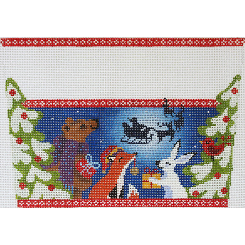 Christmas Eve in the Woods stocking topper