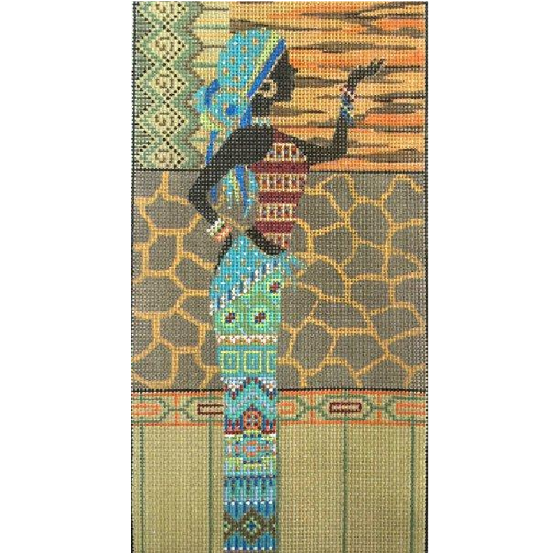 African Woman in Blue needlepoint by Alice Peterson.