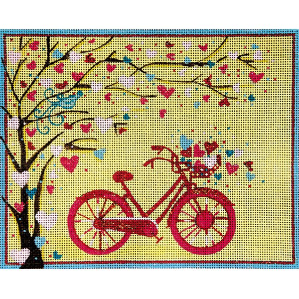 Alice Peterson Needlepoint Bicycle and tree