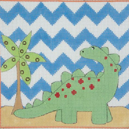 Green Brontosaurus Needlepoint - Canvas Only