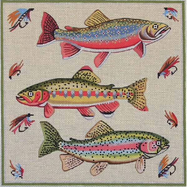 Three Fish Needlepoint by Alice Peterson