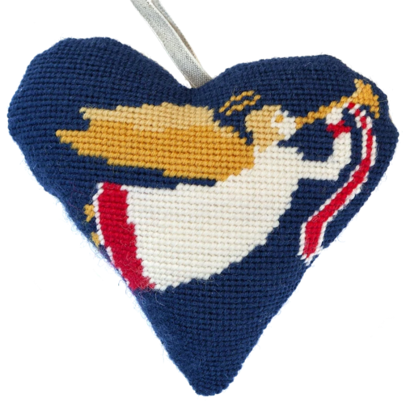 Angel Needlepoint Heart Ornament