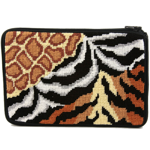 stitch and zip animal prints cosmetic purse