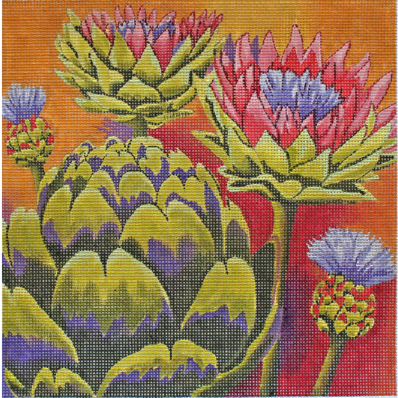 Artichokes needlepoint canvas by Karen Dukes for Julie Mar designs