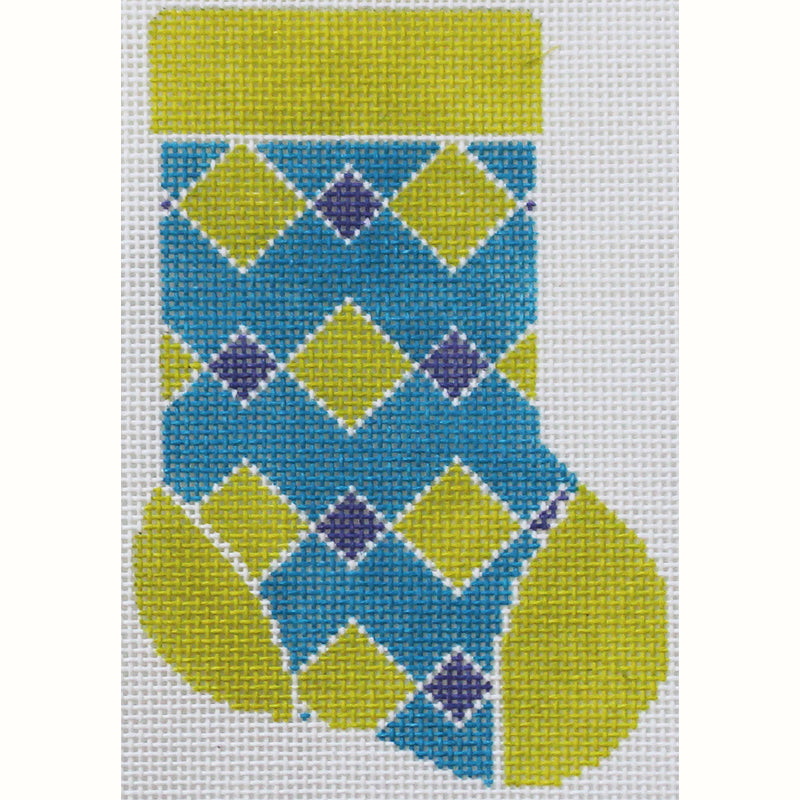 Green & teal diamonds Mini Stocking