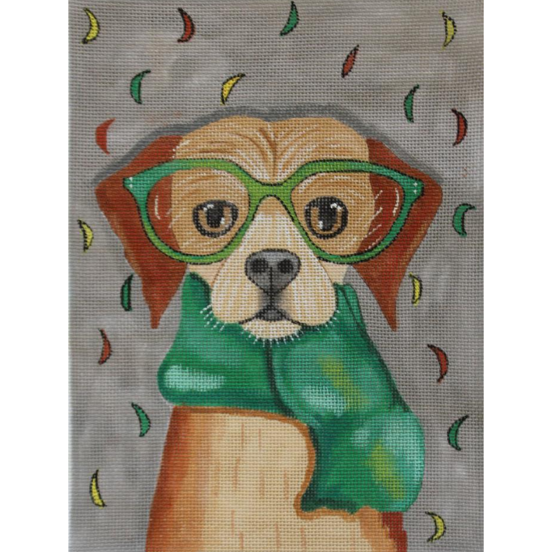 Autumn Dog needlepoint canvas by Ryan Conners
