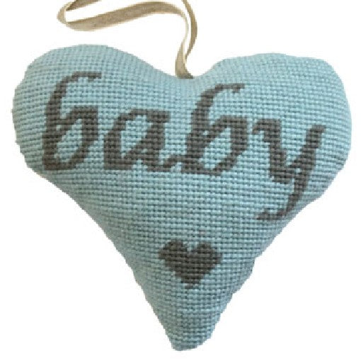 Baby Blue needlepoint heart ornament kit