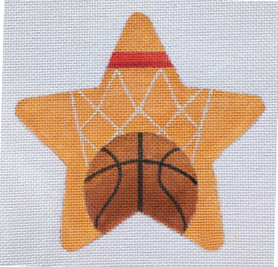 Basketball Needlepoint Star Ornament   - Canvas Only