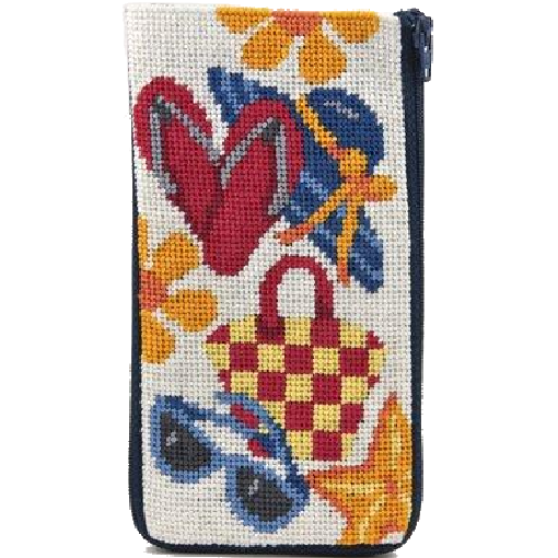 beach accessories eyeglass case needlepoint stitch and zip