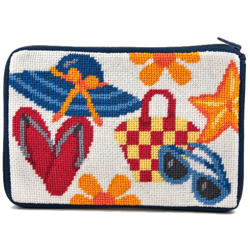 beach accessories needlepoint purse by stitch and zip