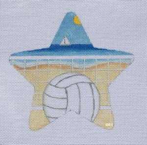 Beach Volleyball Needlepoint Star Ornament  - Canvas Only