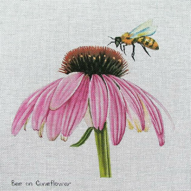 Bee on Coneflower Handpainted Needlepoint - Canvas Only