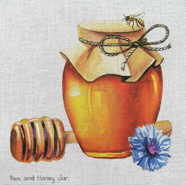 Bee and Honey Jar Needlepoint - Canvas Only