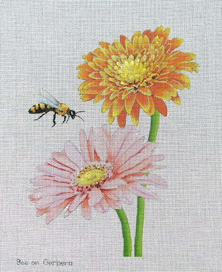 Bee on Gerbera Handpainted Needlepoint - Canvas Only