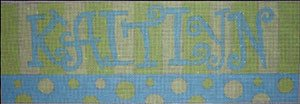 Beth Gantz Needlepoint Custom Names<BR>Pink and Blue Spots - Canvas Only 1-5 Letters