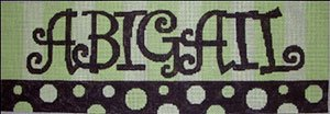 Beth Gantz Needlepoint Custom Names<BR>Green and Brown Spots - Canvas Only 0-5 Letters