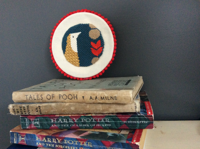 Mid Century Modern Needlepoint Bird's Head