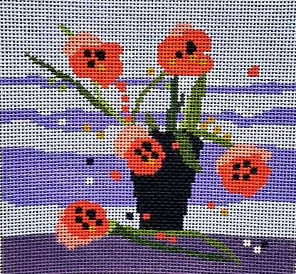 Red Poppies in Black Vase Needlepoint - Canvas Only