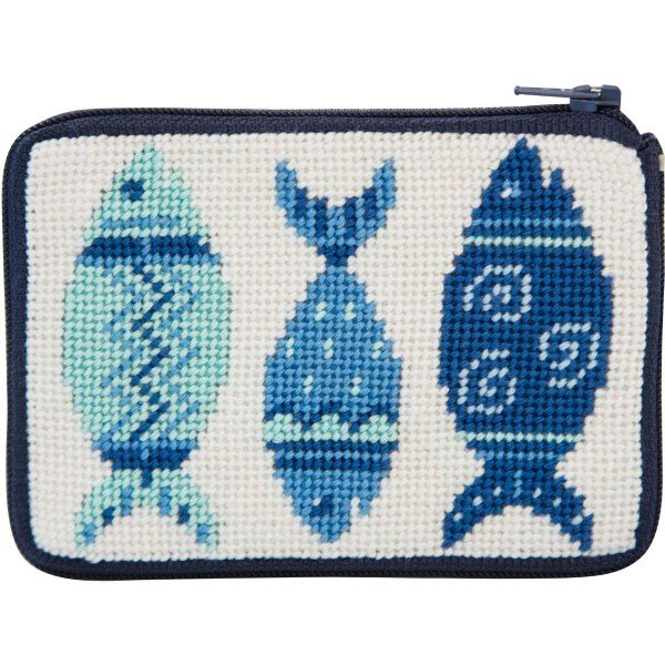 Stitch & Zip Needlepoint Purse Blue Fish