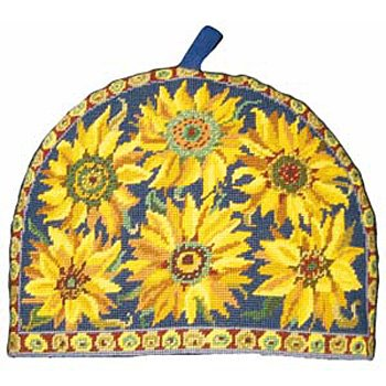 Blue Sunflower Tea Cosy Primavera Needlepoint