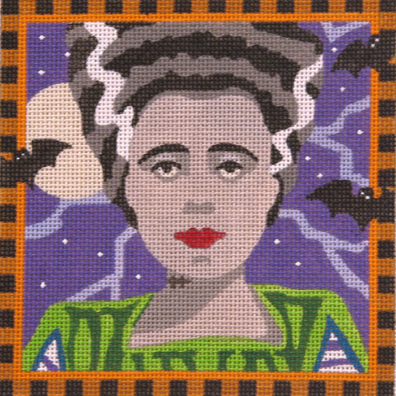 Bride of Frankenstein needlepoint canvas by Julie Mar Designs.