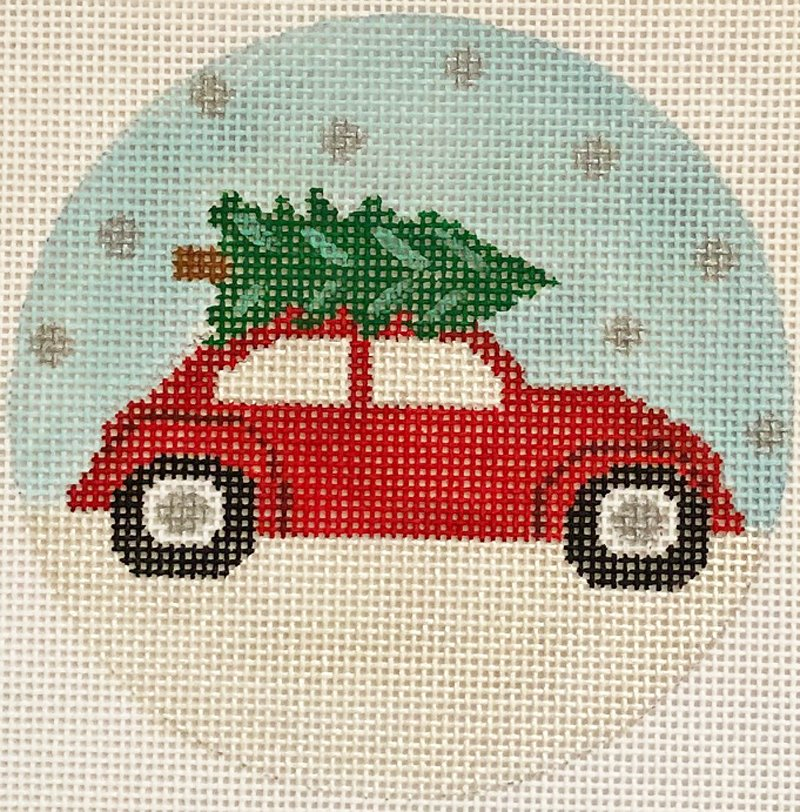 Bringing Home The Tree needlepoint ornament by Valerie Needlepoint VNG