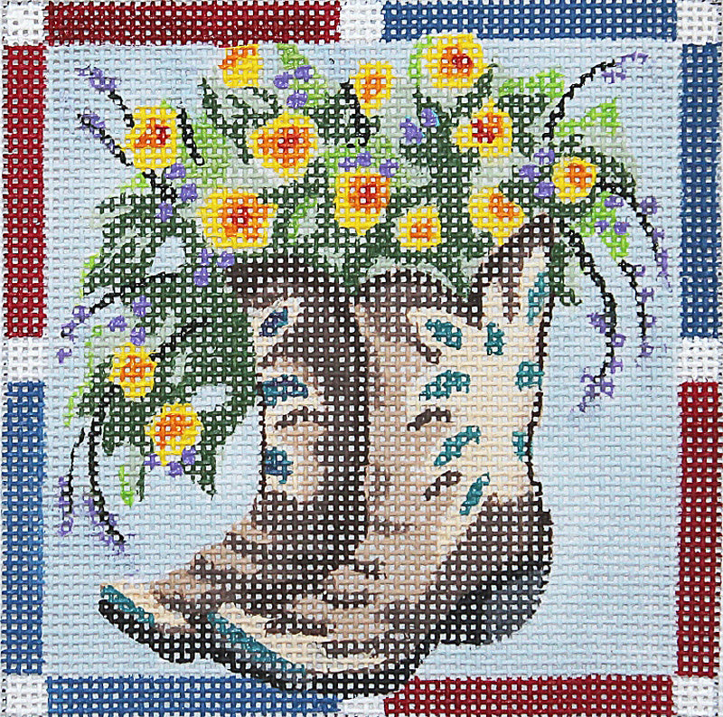 Boots with Yellow Flowers Coaster