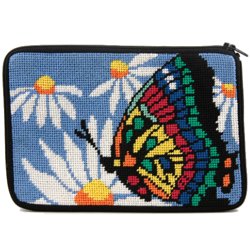 butterfly and daisy needlepoint purse kit by stitch and zip