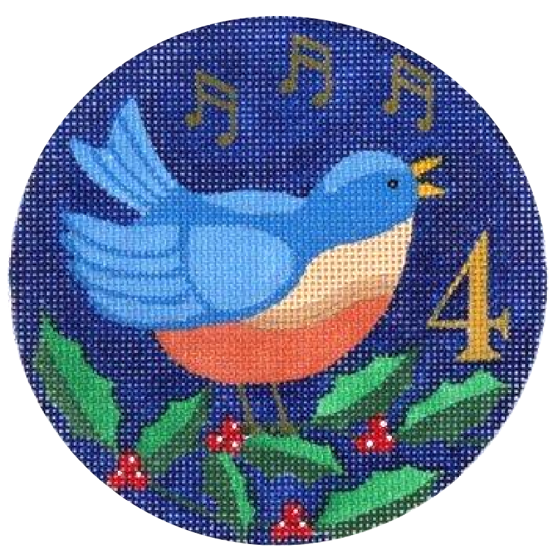 4 Calling Birds Needlepoint Ornament by Julie Mar