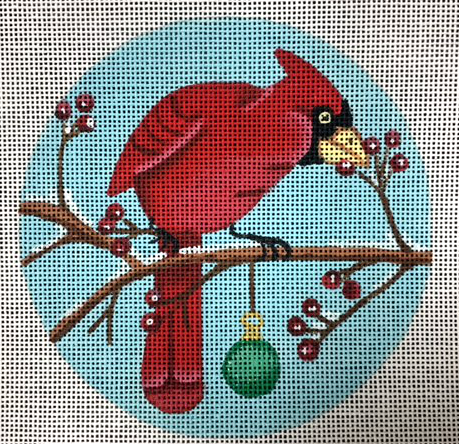 Cardinal Christmas Ornament - Canvas Only