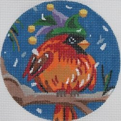 Cardinal in carnival hat ornament  - Canvas Only