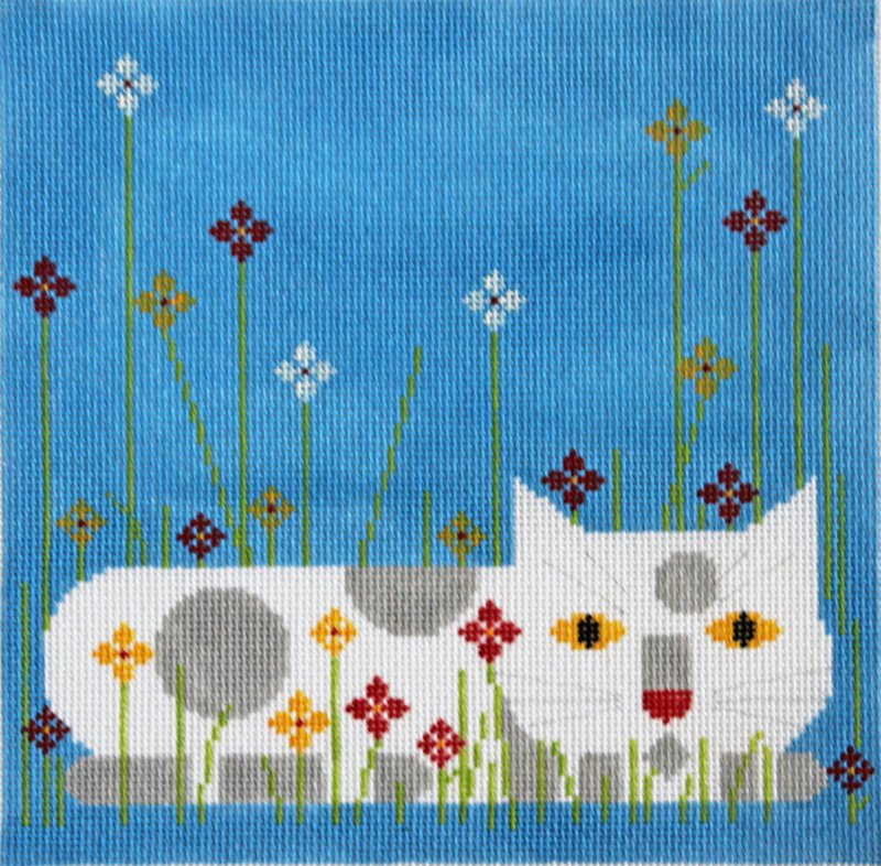 Charley Harper Needlepoint Calendar Cat  - Canvas Only