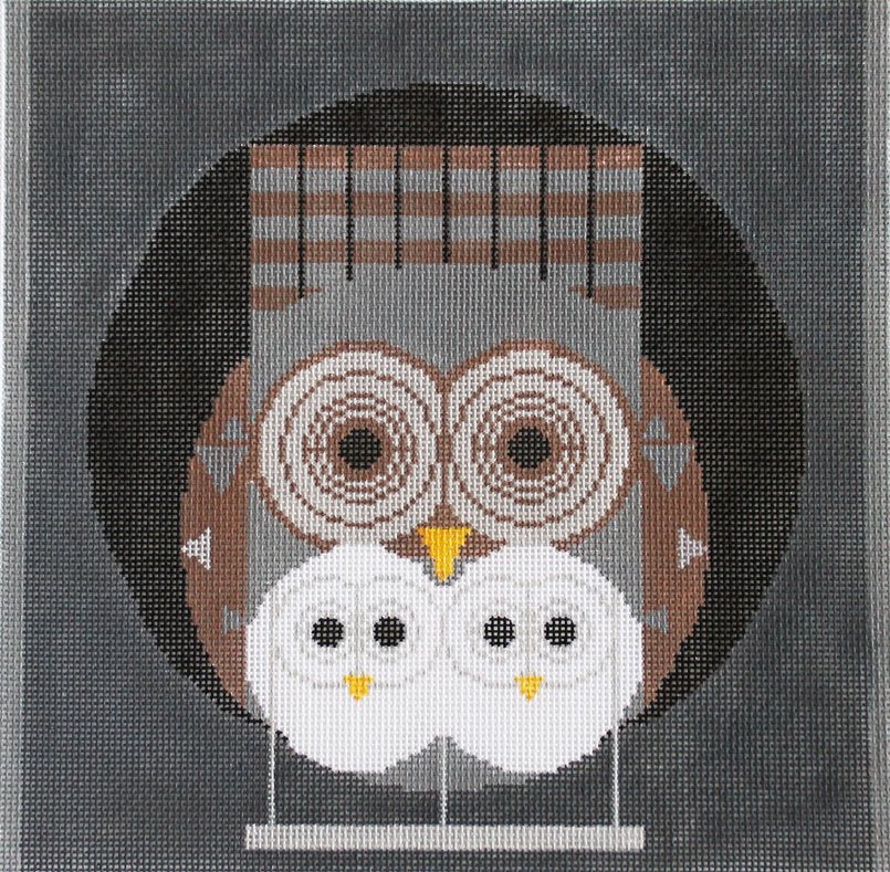 Charley Harper needlepoint Family Owlbum - Canvas Only