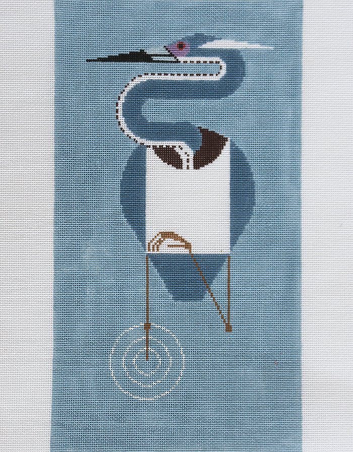 Charley Harper Needlepoint Louisiana Heron - Canvas Only