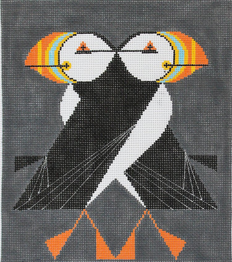 Charley Harper Needlepoint Puffins Passing - Canvas Only