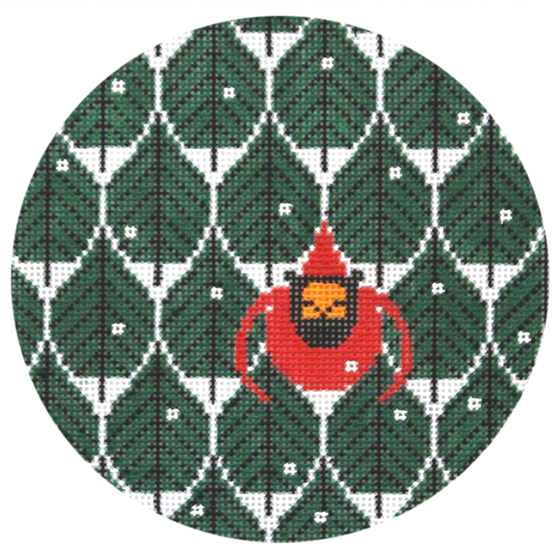 Charley Harper Coniferous Cardinal Needlepoint Ornament