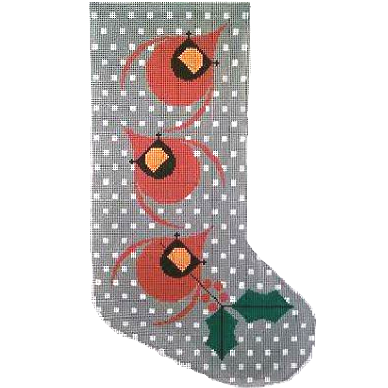 Charley Harper Needlepoint Christmas Card Stocking.