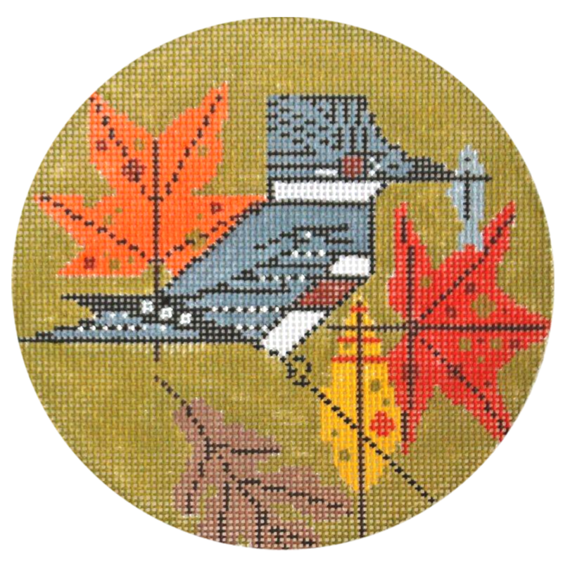 Charley Harper Kingfisher Needlepoint Ornament.
