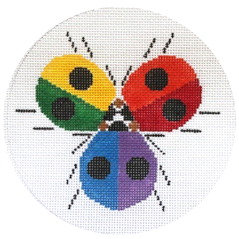 Charley Harper Ladybug Rainbow Needlepoint Ornament