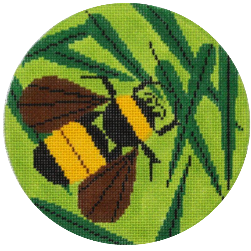 Charley Harper Bee Needlepoint Ornament on Green
