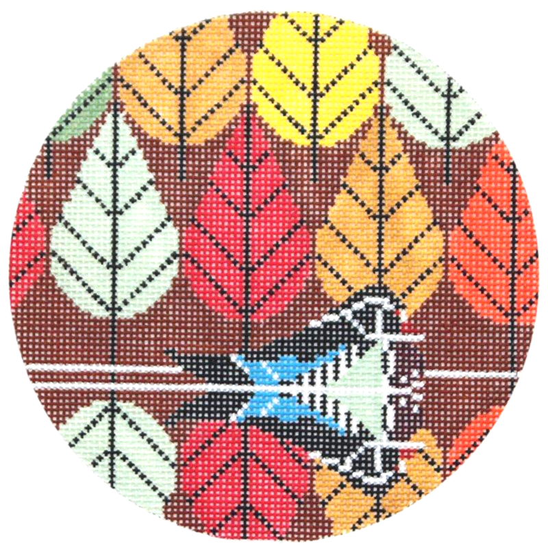 Charley Harper Octobermania Needlepoint Ornament.