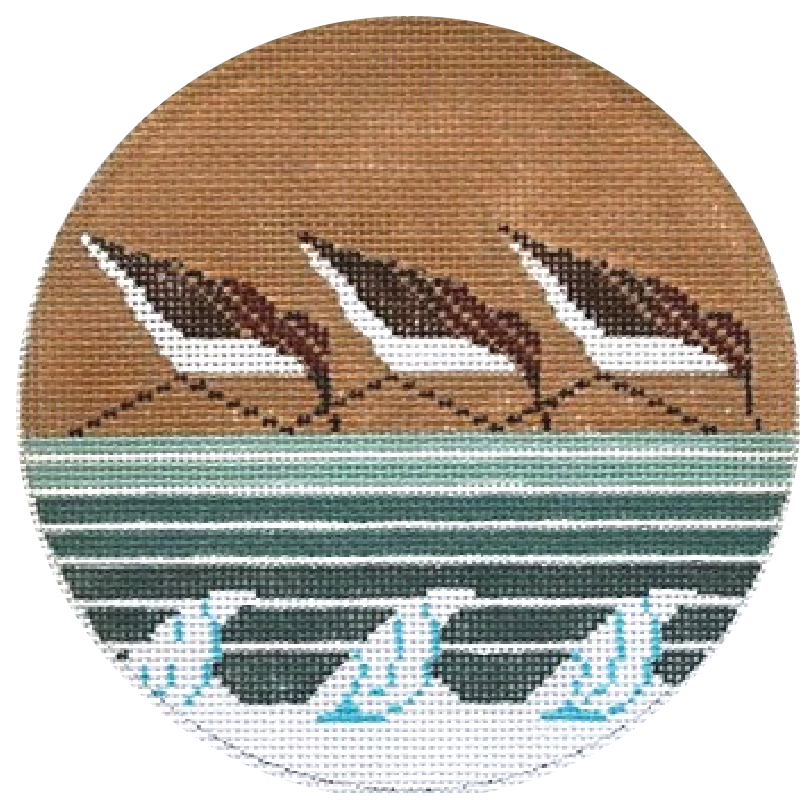 Charley Harper Needlepoint Sanderlings Needlepoint Ornament.