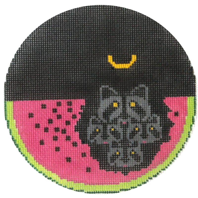 Charley Harper Needlepoint Ornament Watermelon Moon