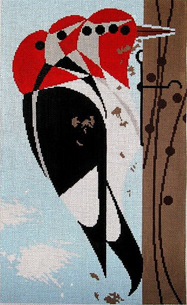 Charley Harper Needlepoint Head Banger - Canvas Only
