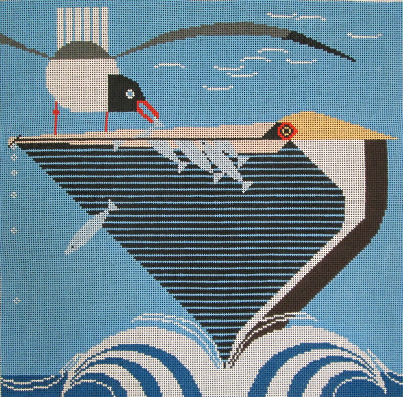 Charley Harper Needlepoint Pelican Pantry - Canvas Only
