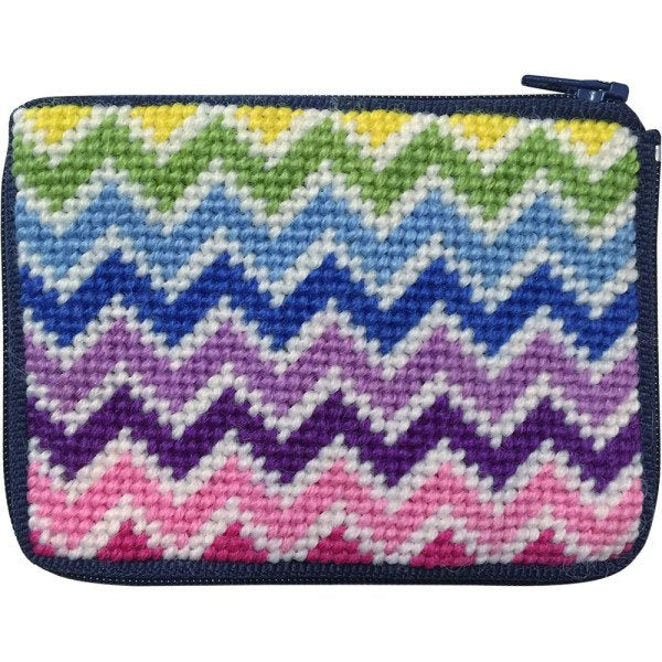 Beginner Needlepoint Kit Coin Purse Chevron