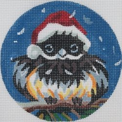 Chickadee in Santa hat ornament  - Canvas Only